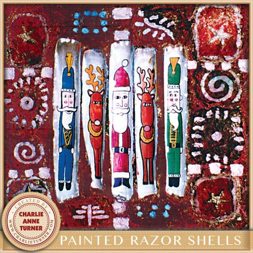 Painted Razor Shells Christmas