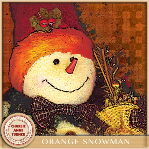 Orange Snowman Christmas
