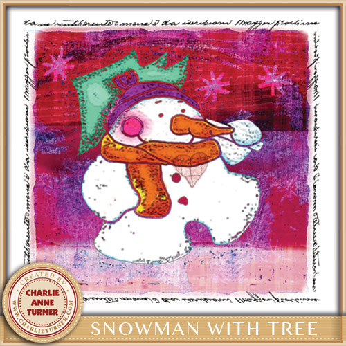 Snowman with Tree Christmas