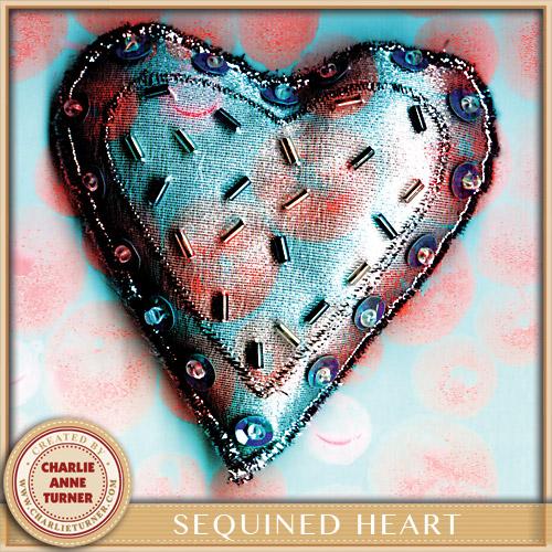 Sequinned Heart Christmas