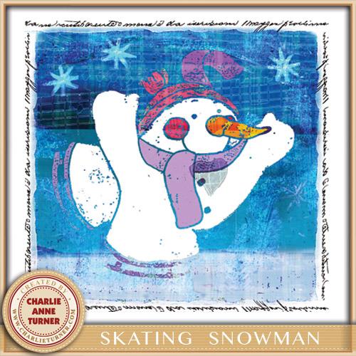 Snowman Skating Christmas