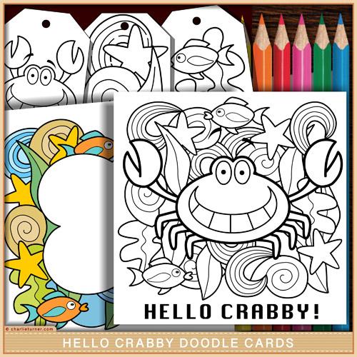 Hello Crabby Doodle Card